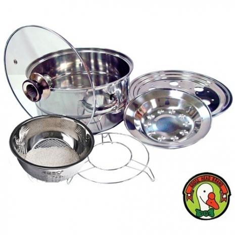 【限時特賣】【鵝頭牌】萬用蒸片鍋蓋組CI-2502H+鵝頭牌洗樂淨CI-2508