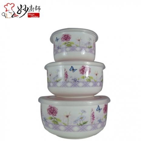 妙廚師 花語陶瓷密封保鮮碗/便當盒3入組