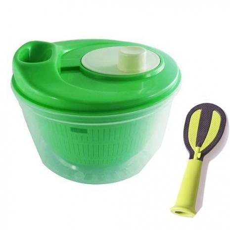 高品質多功能蔬果洗米洗淨脫水器送多功能立式飯匙-特賣