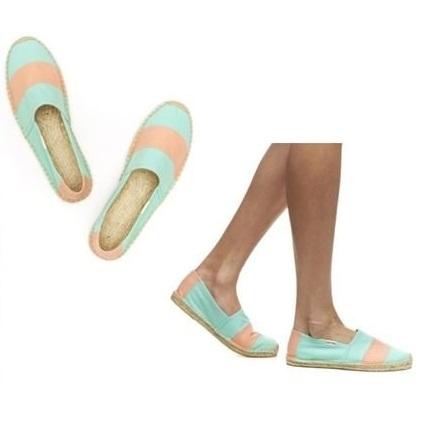 ☆限時優惠8折☆Soludos espadrilles   麻底帆布鞋 粉綠寬條紋草編鞋 W9