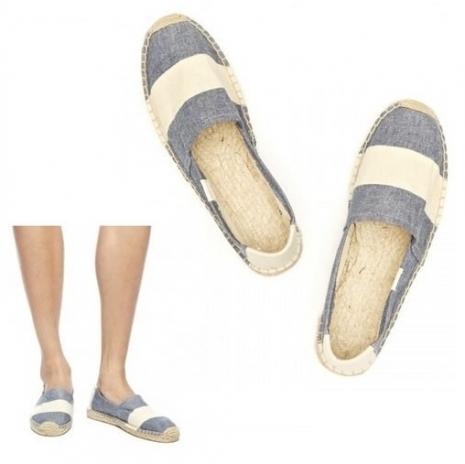 ☆限時優惠8折☆Soludos espadrilles   麻底帆布鞋 牛仔藍寬條紋草編鞋 W10