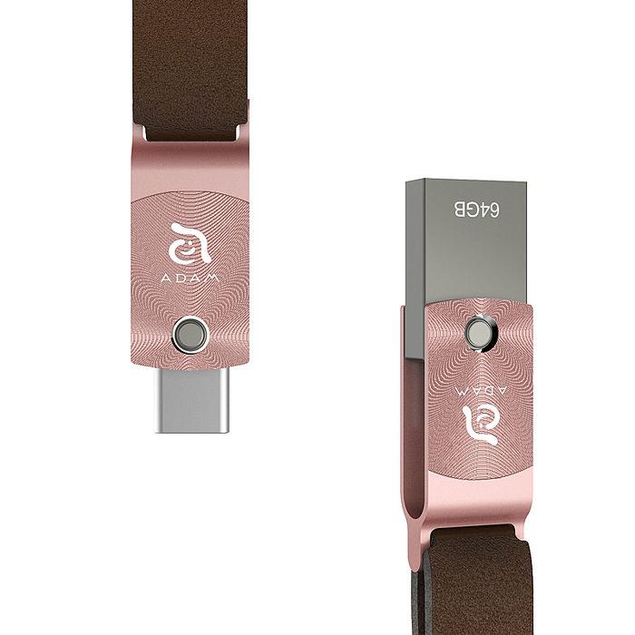 【亞果元素】ROMA USB Type-C 雙用隨身碟 64GB 玫瑰金