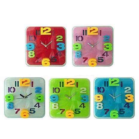 無敵王 糖果色立體數字方形鬧鐘SV-1317