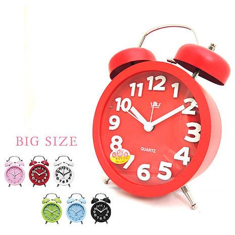 無敵王 糖果色立體數字雙鈴圓型鬧鐘SV-1329