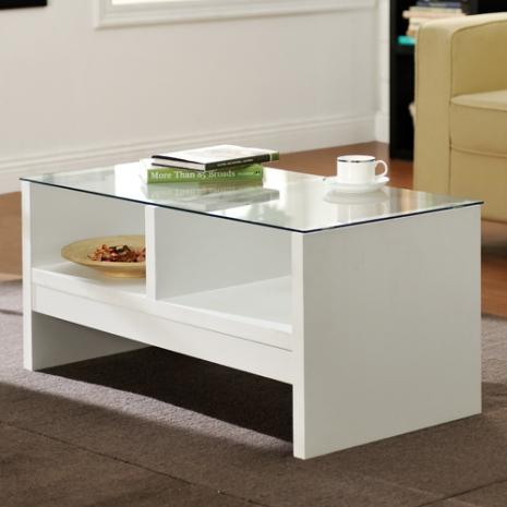 特賣↘【德萊妮】經典安全玻璃小茶几桌/邊桌(白色)