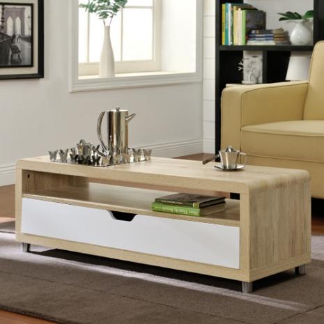 特賣↘【德萊妮】大抽屜收納茶几桌/邊桌/電視櫃(淺橡+白色)