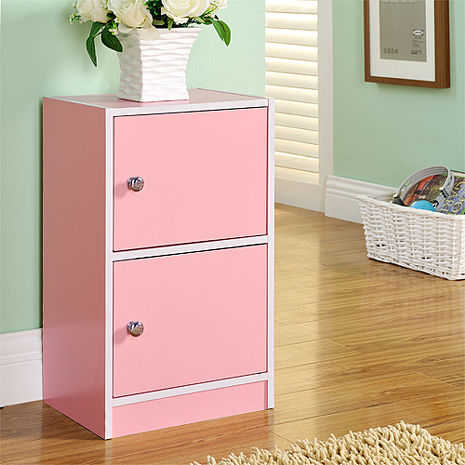 【德萊妮】DIY輕鬆收納兩門櫃/書櫃/置物櫃/收納櫃(粉色)