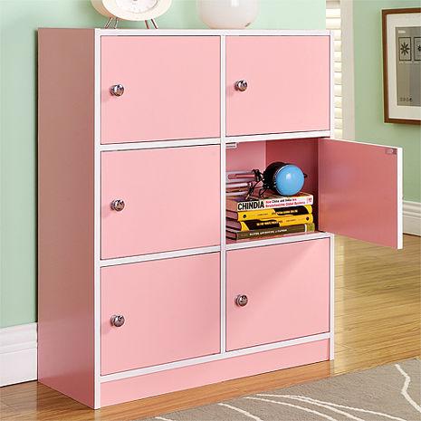 特賣↘【德萊妮】DIY輕鬆收納六門櫃/書櫃/置物櫃/收納櫃(粉色)