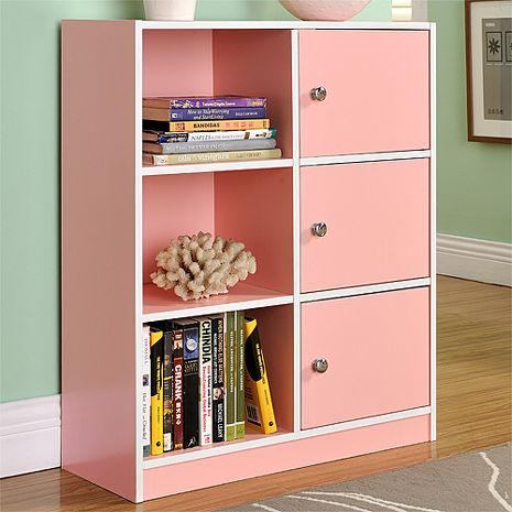 【德萊妮】DIY輕鬆收納六格三門櫃/書櫃/置物櫃/收納櫃(粉色)
