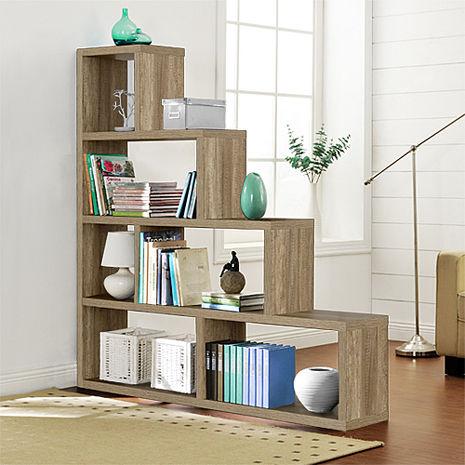 特賣↘【德萊妮】L型多層展示櫃/書櫃/收納櫃/隔間櫃(深橡色)