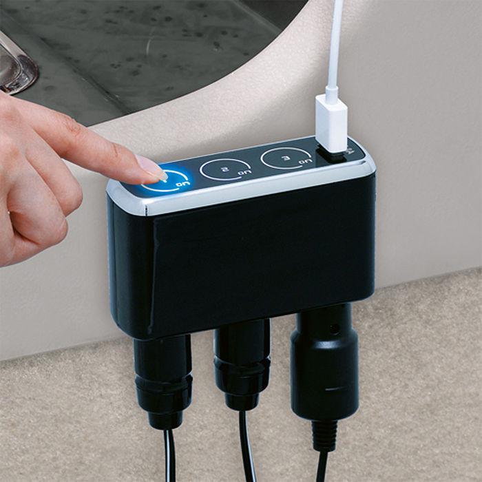 【日本SEIWA】USB+觸碰式3孔插座F252 (汽車︱車充︱擴充︱轉換器)