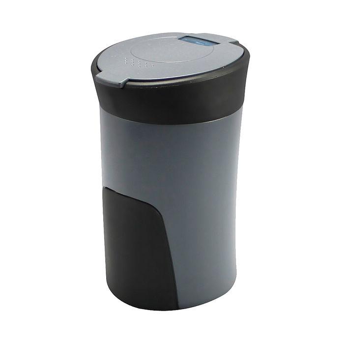 【日本槌屋YAC】好握感LED煙灰缸-灰色PZ-760 (汽車︱收納置物︱垃圾桶)