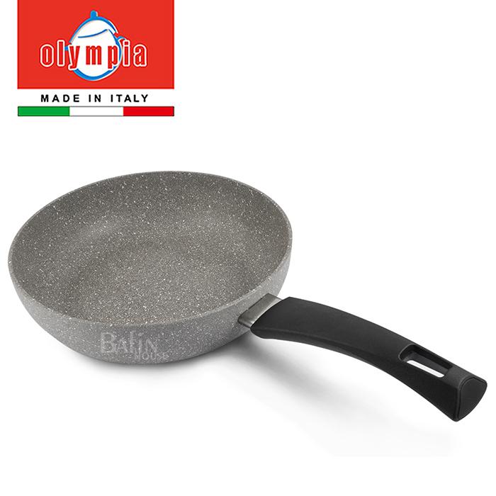 【義大利 Olympia】義大利鑄造 岩色 平煎鍋24cm