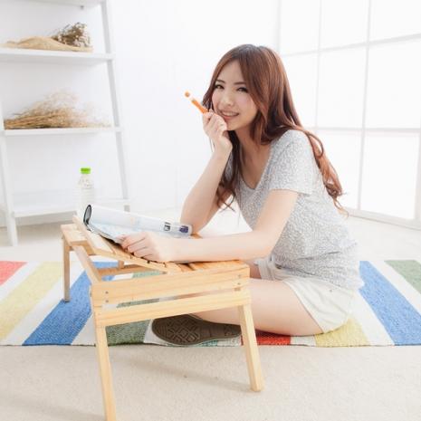 【LIFECODE】小幫手-松木筆記型電腦桌/床上桌/NB桌(雙置物盒+杯架+筆座)