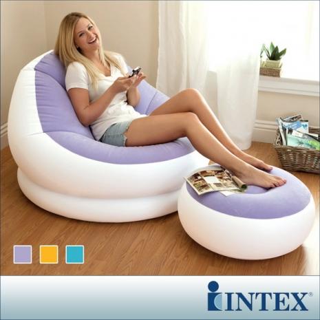 INTEX《馬卡龍懶人椅》單人充氣沙發椅附腳椅-三色隨機出貨