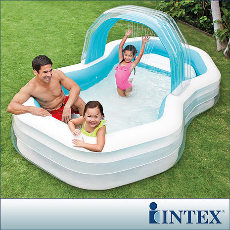 【INTEX】家庭戲水噴水小屋游泳池(310x188CM)(700L)