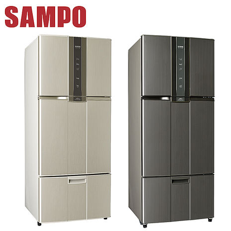 【SAMPO聲寶】530L智慧節能變頻一級三門冰箱 SR-N53DV (石墨銀K2)(紫燦銀R6)
