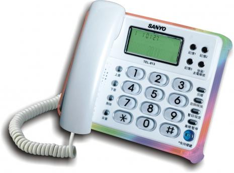 三洋 來電顯示有線電話TEL-813(白)