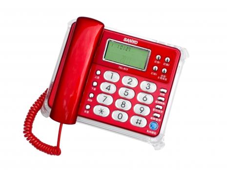 三洋 來電顯示有線電話TEL-813(紅)