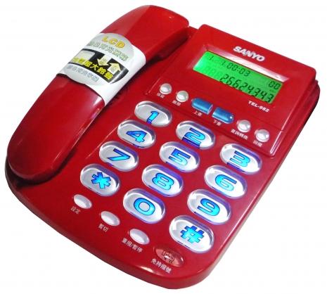 三洋 來電顯示有線電話TEL-982(紅)