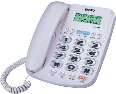 三洋 來電顯示有線電話TEL-982(白)