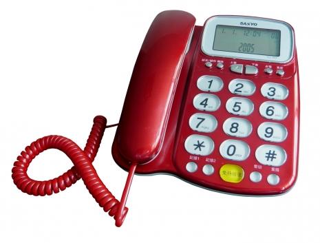 三洋 來電顯示有線電話TEL-986(紅)