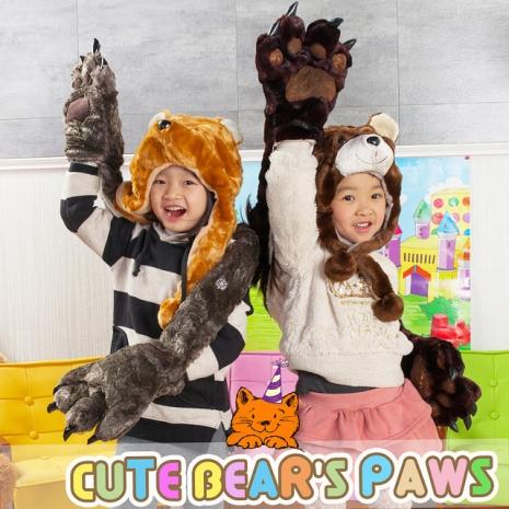 卡哇伊 超保暖 動物帽 圍巾 熊掌 手套 溫暖您的手
