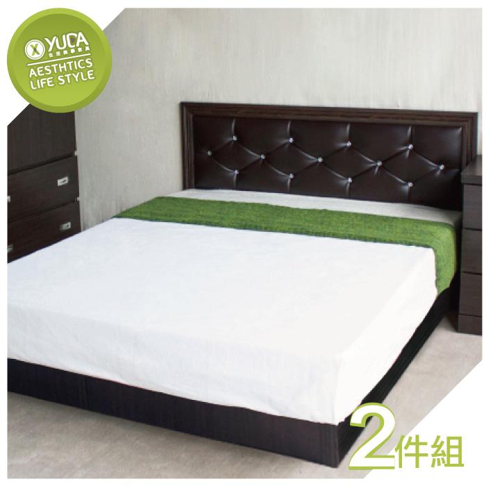 【YUDA】 5尺 雙人 黛曼特(床頭片+床底+) 4色選擇 2件組 床架組/ 床底組/床組