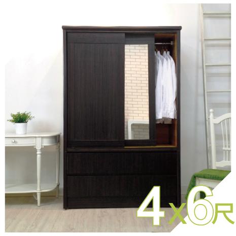 【YUDA】美化 4*6尺 A+木心板 三推門/三拉門+雙抽屜 衣櫥/衣櫃 新竹以北免運費