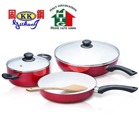 【固鋼HTG】預購 -  法拉利紅白陶瓷不沾鍋具組(三鍋超值六件組)