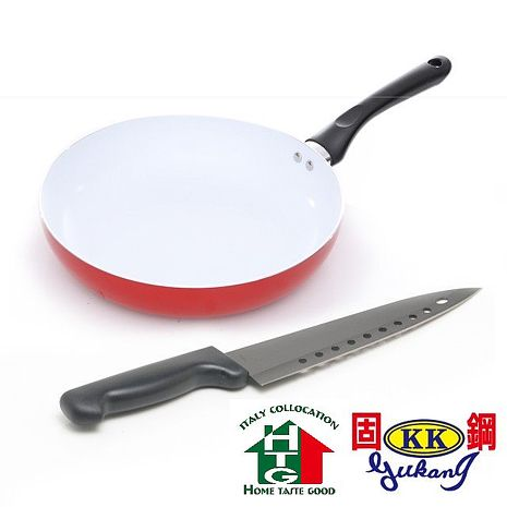 【固鋼HTG】法拉利紅白陶瓷平煎鍋26cm+台灣鋼刀(通過SGS檢驗)
