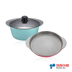 ~韓國Kitchen Art~ 清新鈦石雙鍋組^(28cm烤盤 24cm湯鍋^)