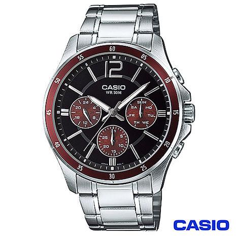 CASIO卡西歐 時尚三眼爵士石英腕錶 MTP-1374D-5A