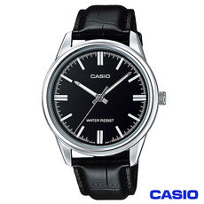 CASIO卡西歐 簡潔風格皮帶男錶~黑 MTP~V005L~1A ^(雙11 ^)