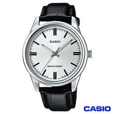 CASIO卡西歐 簡潔風格皮帶男錶~白 MTP~V005L~7A ^(雙11 ^)