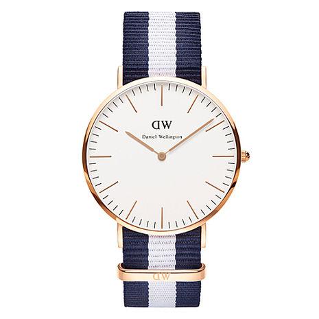 DW Daniel Wellington 經典藍白帆布錶帶-金框/40mm(0104DW)
