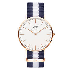 DW Daniel Wellington 藍白帆布錶帶~金框40mm^(0104DW^)