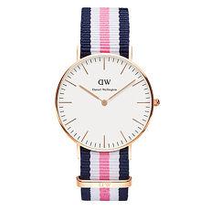 DW Daniel Wellington 藍白粉紅尼龍錶帶~金框36mm^(0506DW^