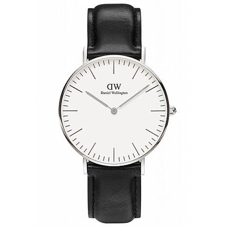 DW Daniel Wellington 經典黑色皮革時尚女錶-銀框/36mm(0608DW)
