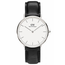 DW Daniel Wellington 黑色皮革 女錶~銀框36mm^(0608DW^)
