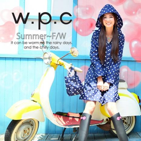 【w.p.c.】顯瘦修長款.時尚雨衣/風衣(R1005)-藍點點