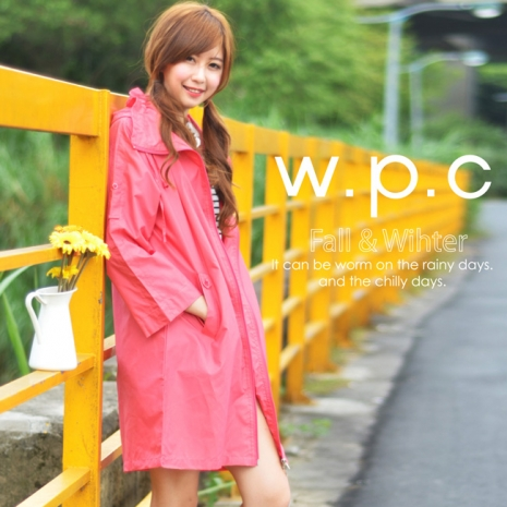 【w.p.c.】2 way袖子可折.時尚雨衣/風衣(R9001)_桃紅
