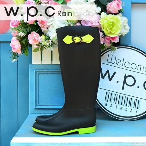 w.p.c 日系撞色時尚顯瘦扣環長筒雨靴