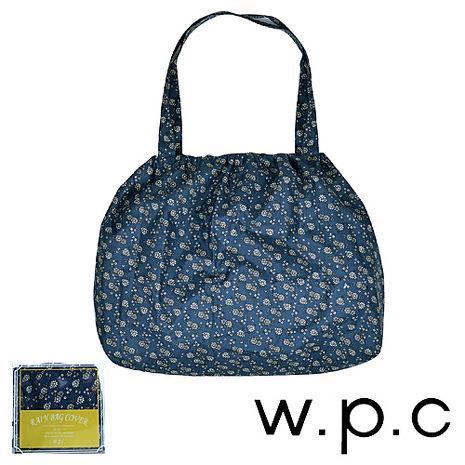【w.p.c】時尚包包雨衣/束口防雨袋 (藍底小花)