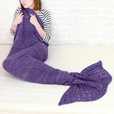 童話物語 美人魚尾保暖針織毛毯/懶人毯/冷氣毯 (紫色)