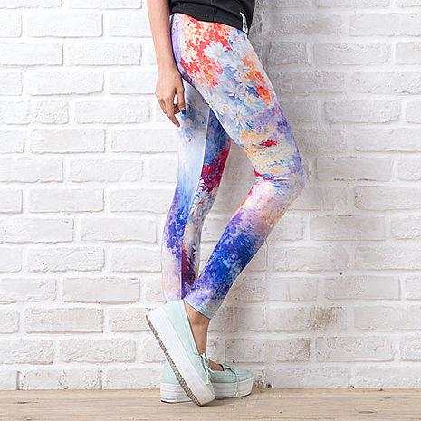 SHAPA CoolMax吸濕排汗內搭褲女風景塗鴉(預購)