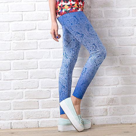 SHAPA CoolMax吸濕排汗內搭褲女藍蕾絲(預購)