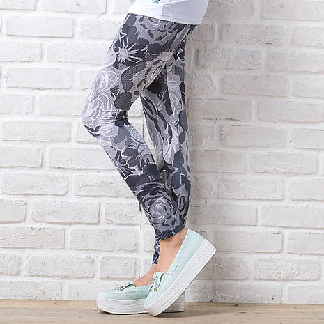 SHAPA CoolMax吸濕排汗內搭褲女網點玫瑰花紋(預購)