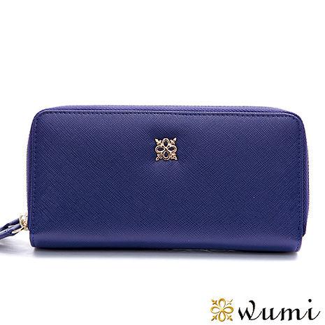 WuMi 無米  布蘭妮十字紋雙拉隔層長夾 英倫藍