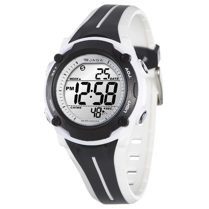 JAGA 捷卡 M1112-AD 全新俏麗時髦多功能電子錶-黑白